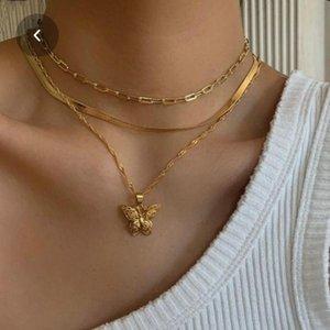 3 camadas da borboleta Colar 24K Yellow Gold Filled Latão cadeia cobra Borboleta Pingente Plano Chunky Chain Link Choker