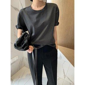 2020 estate nuova maglietta di cotone a maniche corte di media lunghezza di colore solido progettista COJ F T-shirt delle donne allentate