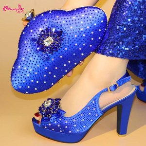 2019 Special Arrivi Wedding Nigerian Party Shoes con borse abbinate Ladies Shoe and Bag Set Decorate in blu per Party