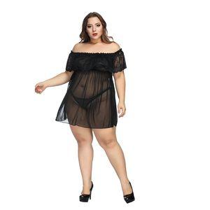Womens Hot Lace Sexy Pyjamas Plus Size durchschauen Sexy Sets Fest Slash Neck Hosen-Anzüge