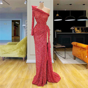 Sparkling Red One Shoulder Sequins High Split Mermaid Prom Dresses 2020 Long Sleeve Ruffles Ruched Sweep Train Formal Party Evening Gowns