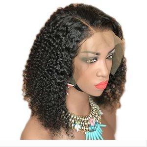 Короткие Kinky завитые полные парики шнурка Natural Black человеческих волос 13x6 фронта шнурка парики бразильский завитые 360 Lace Фронтальная Парик для чернокожих женщин