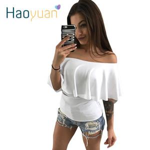Haoyuan عارضة كشكش القطع الرقبة بلوزة الصيف قميص المرأة مثير قصيرة الأكمام أزياء أسود أبيض البلوزات blusas قبالة الكتف الأعلى Y19062501