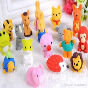 30 Style Mix Lovely Cartoon Animals Pencil Eraser Cute Rubber Correction Erasers Student Stationery School Supplies Kids Gift Promotion