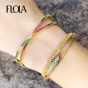 FLOLA 14k brazaletes iris del oro mal de ojo para las mujeres Manguito brazaletes de las pulseras con el cristal de la joyería de la CZ Las pulseras personalizado brtb80