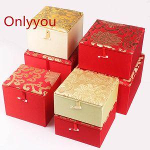 Роскошные мягкие площади Желтый Красный ювелирных изделий коробка подарка Шелковые ткани китайский Wood Box Упаковка Gemstone Коллекция декоративных коробках полидисперсным