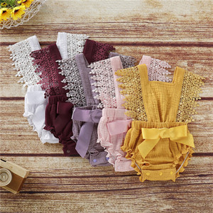 2020 Baby Girl Rompers Newborn Baby Clothes Toddler Flare Sleeve Solid Lace Designer Romper Jumpsuit Breathable One-Pieces Onesie D62804