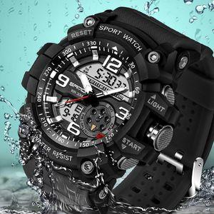 SANDA 스포츠 손목 시계 남성 2017 시계 남성 LED 디지털 석영 손목 시계 남성의 상위 브랜드의 고급 방수 Relogio V191116을 디지털 시계