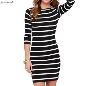 New Spring And Autumn Models Women Fashion Black And White Stripes Long Sleeves Slim Plus Size Casual Dress