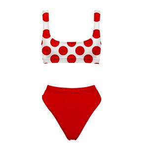 Sexy Moda Swimwear do ponto de impressão Female Swimsuit Bikini Spot 2 Pieces Swimwear Verão de banho Set Nova