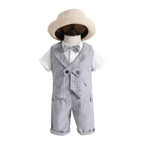 5sets [ T-shirt + Pant + Vest ] Wholesale Boys gentleman vest kids party outfit suit summer short-sleeve dress baby boys clothes