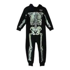 Salopette Automne Hiver Skeleton Jumpsuit enfants Pyjama enfants Onesie Traverses Pyjama Costumes d'Halloween Noël Y200325