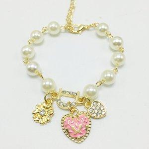 Charme Armbänder Rohlinge Für Frauen Mode Schön Schmuck Bohenmia Herz D mit Floral Imitation Perle Liebe Herz Armbänder Armreifen