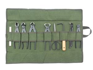 Army Green Japanese Bonsai Storage Package Garden Repair Tool Pliers Roll Bag Scissors Canvas Tool Set bonsai tool kit bags