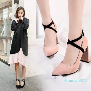 Sexy2019 printemps haute saison Automne et gîté Nouveau modèle de couleur rose Joker Croisement Bandage Femmes Chaussures Bouton Un mot avec la chaussure unique