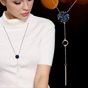 SINLEERY Simple Blue Zircon ronde collier pendentif longue chaîne complète gris cristal Neckalce pour les femmes bijoux à la mode MY455 SSD