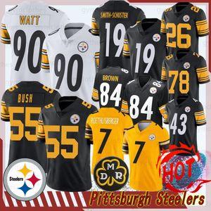 Pittsburgh 30 James Conner 90 TJ Watt Steeler yeni Jersey 19 Juju Smith-Schuster Martavis Bryant 2 Mason Rudolph 78 Alejandro Villanueva