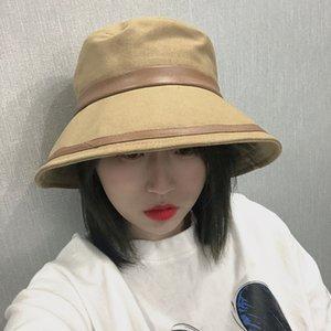 Şapka Kadın Güneşlik Balıkçı Şapka Kadın Kore Moda All-maç Güneş Güneş kremi Şapka Büyük Brim Yüz UV Koruma Havzası Cap