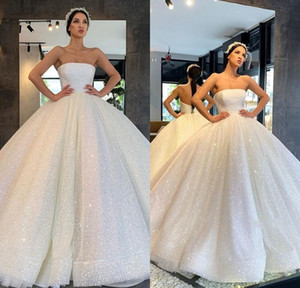 Luxury Arabic White Wedding Dresses 2020 Sequins Plus Size Ball Gown Royal Wedding Dress lace-up Sparkly Princess Bridal Gowns
