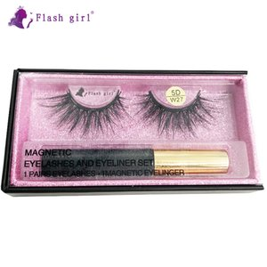 Customized package W-27 5D mink magnetic eyelashes and liquid eyeliner with luxury box wholesale mink eyelashes