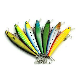 HENGJIA 70pcs высокого качества Minnow пластиковые жесткие приманки Рыболовные приманки Рыболовные снасти смешанных приманок 11см 10.2g 6 # крюки MI069