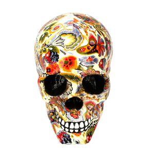 Estátuas de terror Home colorida Tabela Decor Artesanato Resina Crânio esqueletos de Halloween presente Flor Ornamentos