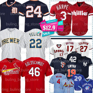 22 Christian Yelich 46 Paul Goldschmidt jerseys 4 Yadier Molina 3 Bryce Harper 27 Mike Trout 24 Rickey Henderson 23 Don Mattingly béisbol