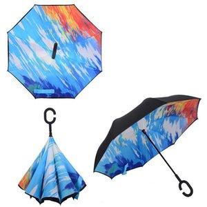 Reverse Umbrella C handle Reverse Sunscreen Rain Windproof Protection Folding Double-layer Umbrellas Party Favor Household Sundry LJJP66