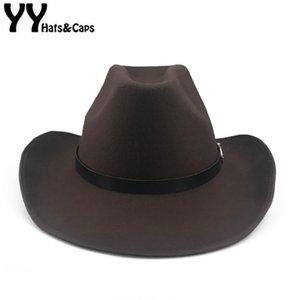 YY Western-Cowboy-Kappen-Männer Fedora Wolle Chapeu Bowler Cap Gentleman Jazz Sombrero Hombre elegante Dame Cowgirl Hüte CB20060