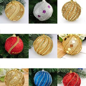 8Cm Christmas Tree Pendant Glitter Gold Red Ball Party Hanging Plastic Foam Ball Drop Ornament Home Christmas Decorations Gift