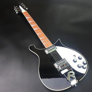 고품질 6 줄 블랙 Rickon 660 일렉트릭 기타, 광택 광택이있는 마호가니 지판, 머리 5도, 몸을 통한 목!