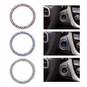 10PC Bling Button Start Switch Silver Diamond Crystal Car SUV Ring Decorative Auto Decoration Accessories