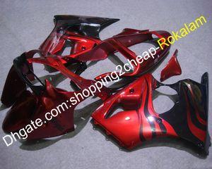 Gratuit Carénage sur mesure pour Kawasaki ZX6R ZX6R 6R 00 01 02 ZX 6R ZZR600 Rouge Noir 2000-2002 Kit corporel (moulage par injection)