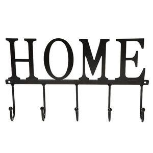 Saving Space Towel Holder Letters Home Easy Install Kitchen 5 Hooks Iron Art Bathroom Hanger Large Rack Storage Rustproof