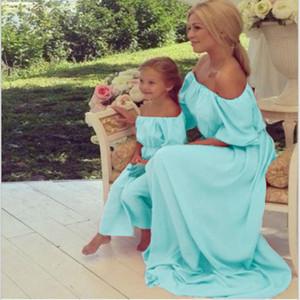 Лето милое платье для мамы и дочери мамы и меня семьи соответствующие одежды с плеча мамы длинные платья элегантная свадьба J190514