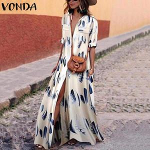 Vestido bohemio de mujer con estampado vintage 2018 VONDA Otoño Sexy Split Maxi Vestidos de fiesta largos Cuello en pico Vestidos de manga larga Tallas grandes