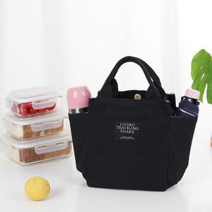 Multiusos Pequenas Sacos de Lona para As Mulheres Top-Handle portátil saco de lancheira Casual Piquenique Cor Sólida Zipper Sacos de Almoço Múmia