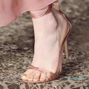 Goddess2019 Bandage Croisement chaussures en cuir véritable Rome fine à bout sexy haute talons chaussures sandales femme