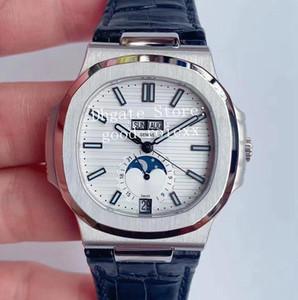 3 Farbe Weiß Grau Blau Mens PF Fabrik Automatische Cal.324 Uhr-Mann-Mondphasen-Anzeige 5726 Tag Zeit Datum Mond Leder 904L Steel Uhren