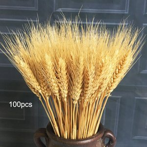 100PC lot Artificial Wheat Ears Natural Dried Flowers Grain Bouquet for Wedding Party Decor DIY Craft Scrapbook Home Decoration