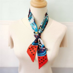 55662Fashion Scarves for Women Print Silk Headband Female 120x8cm long Headband Bandana for Head Small Scarfs For Ladies 90-5cm