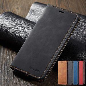 Custodia in pelle di lusso retrò magnetica carta di credito del raccoglitore del basamento copertura della cassa del telefono per iPhone 6 7 8 Plus XR XS MAX Samsung S8 S9 Nota 9 S10 Huawei P20