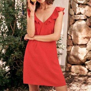 Women style V neck ruffles mini dress red sweet female dresses solid backless sleeveles chic vestidos