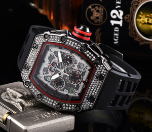 2020 Mens Fashion Sport Watch Shinning Watches Stainless Steel Diamond Iced Watch All Dial Work Chronograph Rubber Strap male Clock