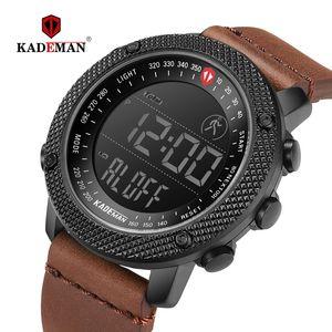 KADEMAN 2019 Luxo Mens Esporte Relógios Passos Contador LED relógio digital 3ATM Fashion Designer Casual Couro Relógios de pulso Relogio CJ191217