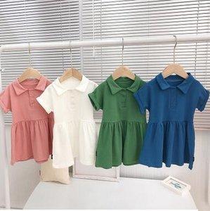 Kız Giydirme Klasik Pamuk POLO Yaka Midi Etek Şeker Renk Kısa Kollu Elbiseler Yaz Casual Dress Bebek Çocuk Giyim ZYQ193