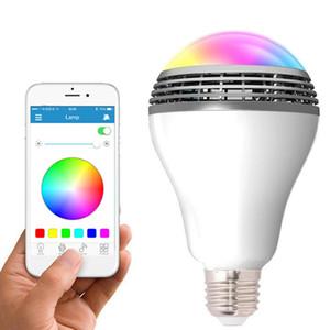 Inteligente RGB E27 Bulb Bluetooth 4.0 Áudio Falantes Lamp Regulável Música LED sem fio Bulb Light Color Mudar Via WiFi App Controle