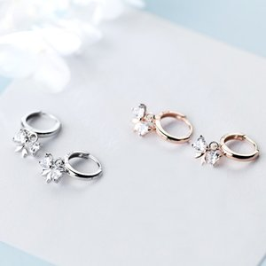 wholesale Classic Circle Hoop Earrings 925 Sterling Silver Clear CZ Bowknot Earrings for Women Party Luxury Jewelry