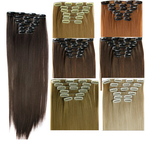 6PCS / مجموعة كليب الاصطناعية في الشعر مستقيم 24inch 140G كليب الاصطناعية على ملحقات الشعر أكثر الألوان