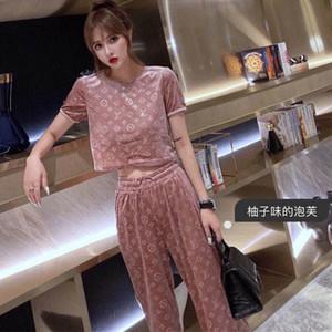 abito di velluto 20 autunno nuovo L lettera popolare velluto logo stampato la camicetta + elastico in vita Pantaloni a sigaretta